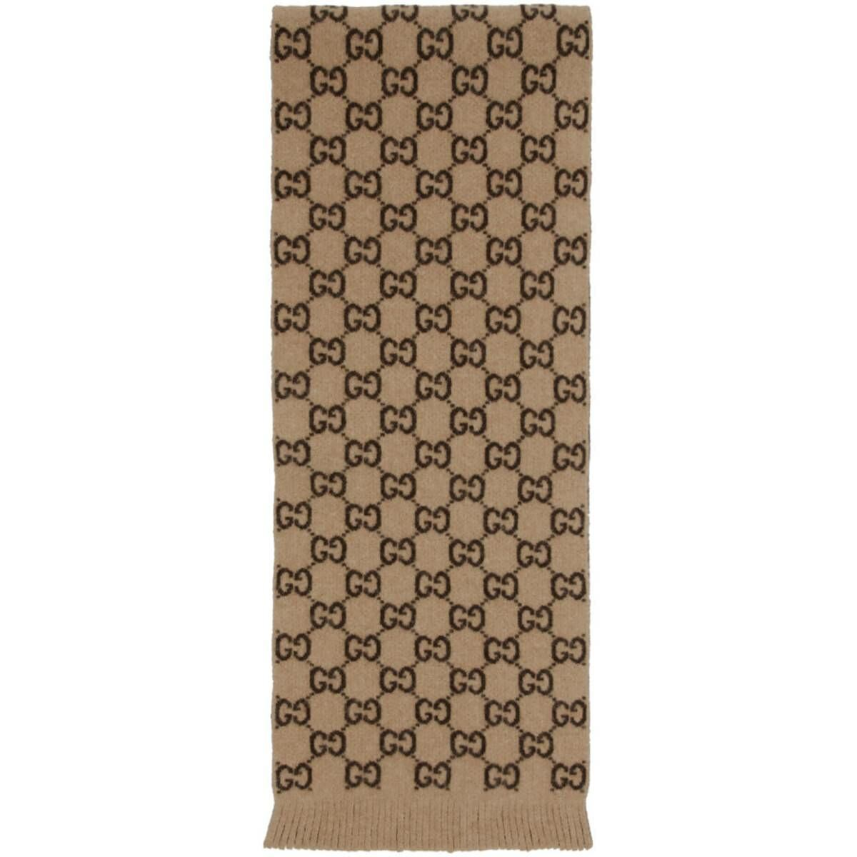 Gucci Beige Wool GG Scarf Ssense USA MEN Men ACCESSORIES Mens SCARFS