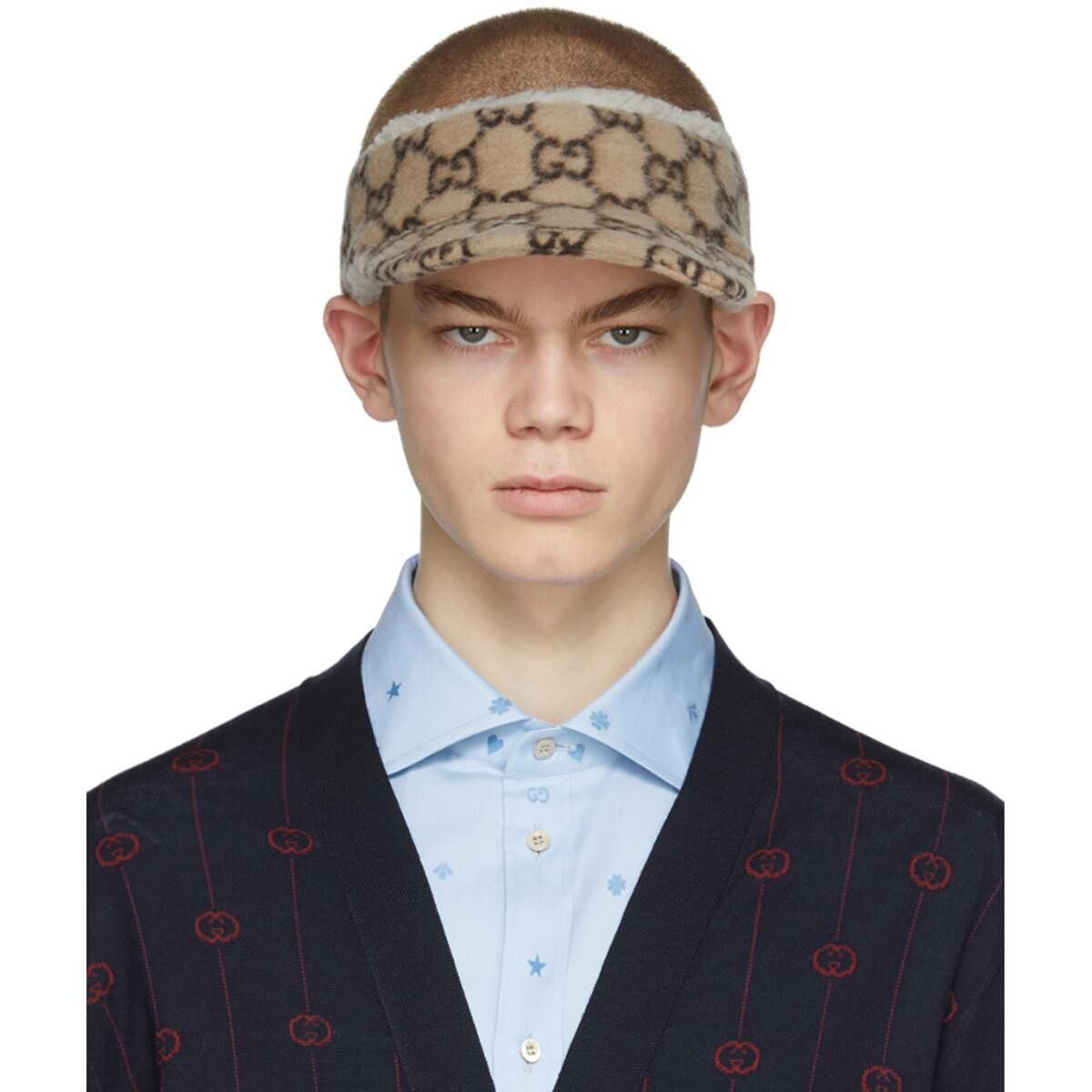 Gucci Beige Wool GG Visor Ssense USA MEN Men ACCESSORIES Mens CAPS