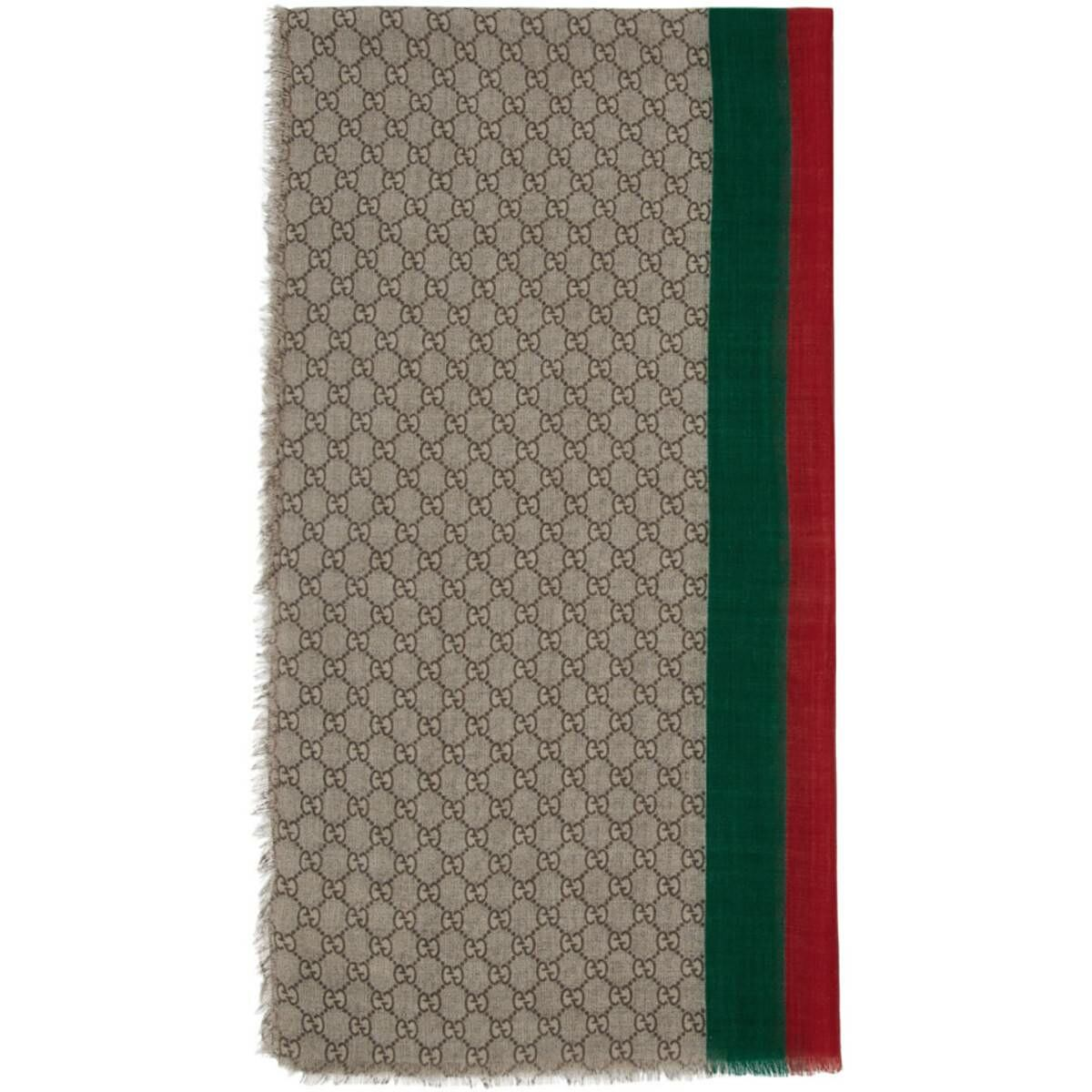 Gucci Beige Wool GG Web Scarf Ssense USA MEN Men ACCESSORIES Mens SCARFS