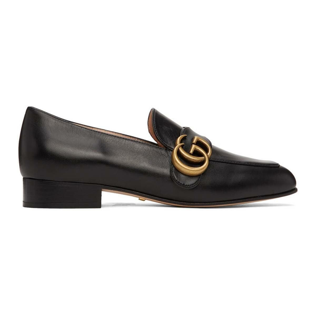 Gucci Black GG Marmont Loafers Ssense USA WOMEN Women SHOES Womens SLIPPERS