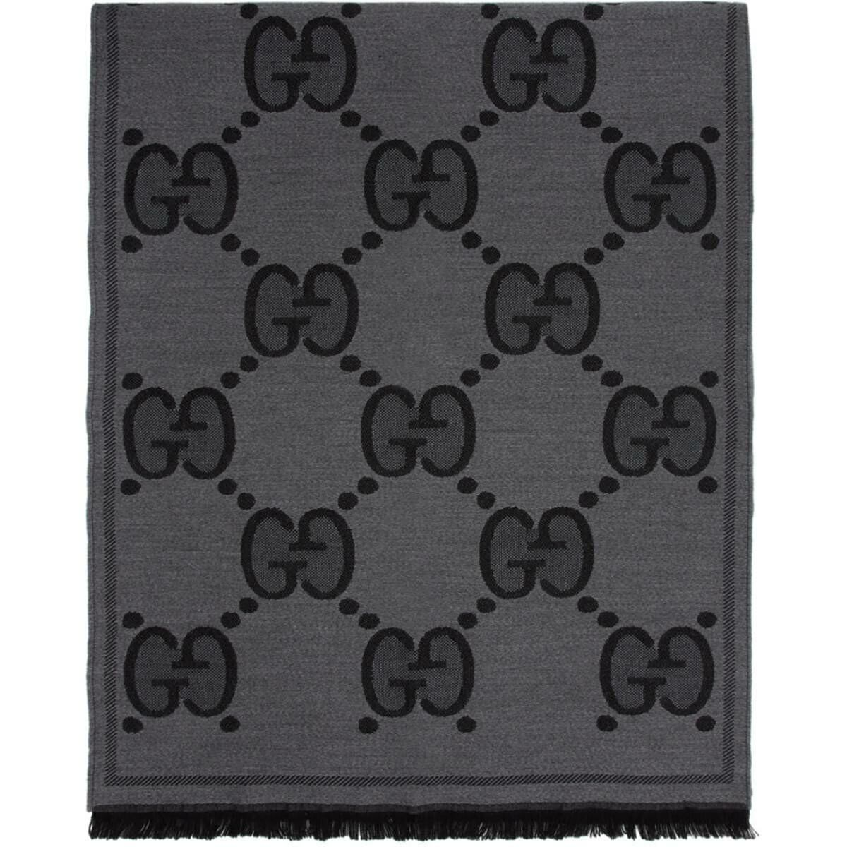 Gucci Black Wool GG Scarf Ssense USA MEN Men ACCESSORIES Mens SCARFS