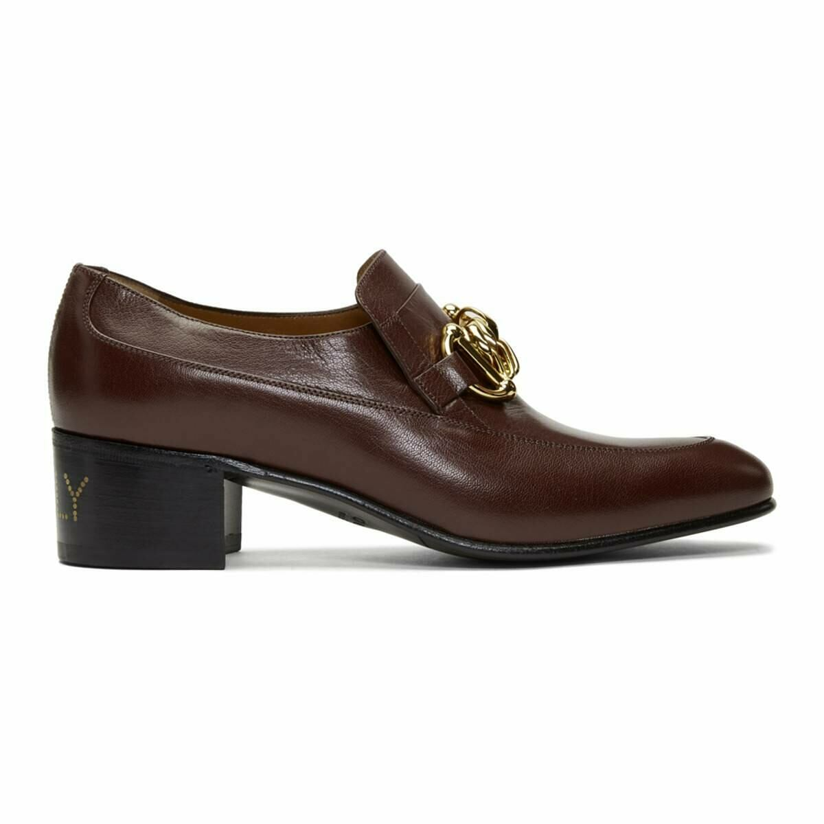 Gucci Burgundy Leather Horsebit Chain Loafers Ssense USA MEN Men SHOES Mens LOAFERS