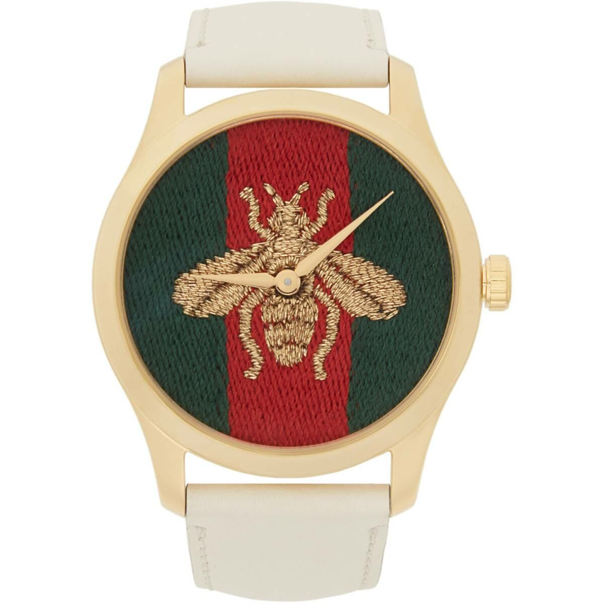 Gucci Gold and White Leather Bee G-Timeless Watch Ssense USA WOMEN Women ACCESSORIES Womens WATCHES