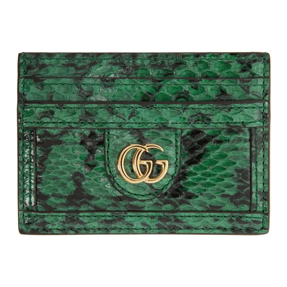 Gucci Green and Black GG Ophidia Viper Card Holder Ssense USA WOMEN Women ACCESSORIES Womens WALLETS