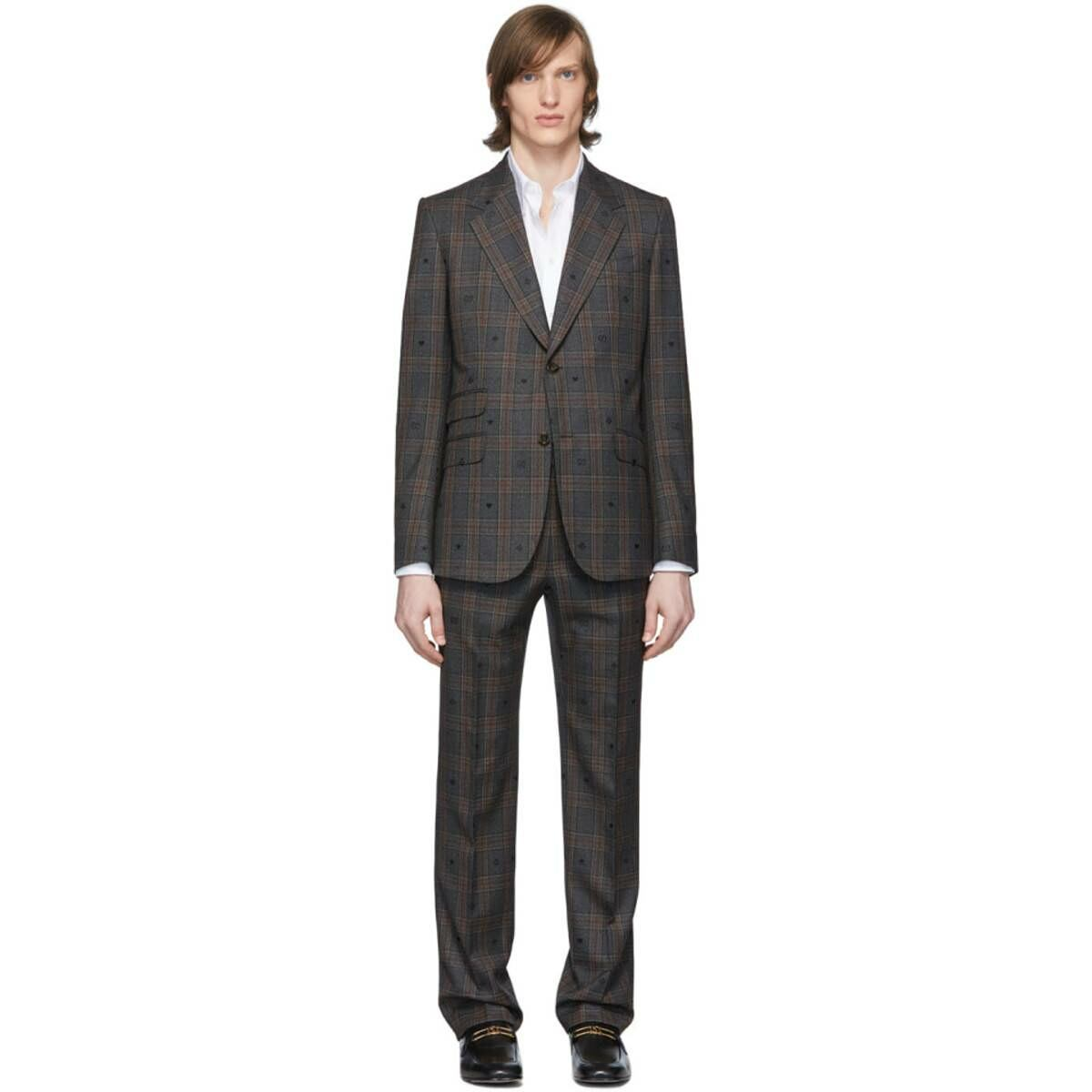 Gucci Grey and Red Bees and Hearts Suit Ssense USA MEN Men FASHION Mens SUITS