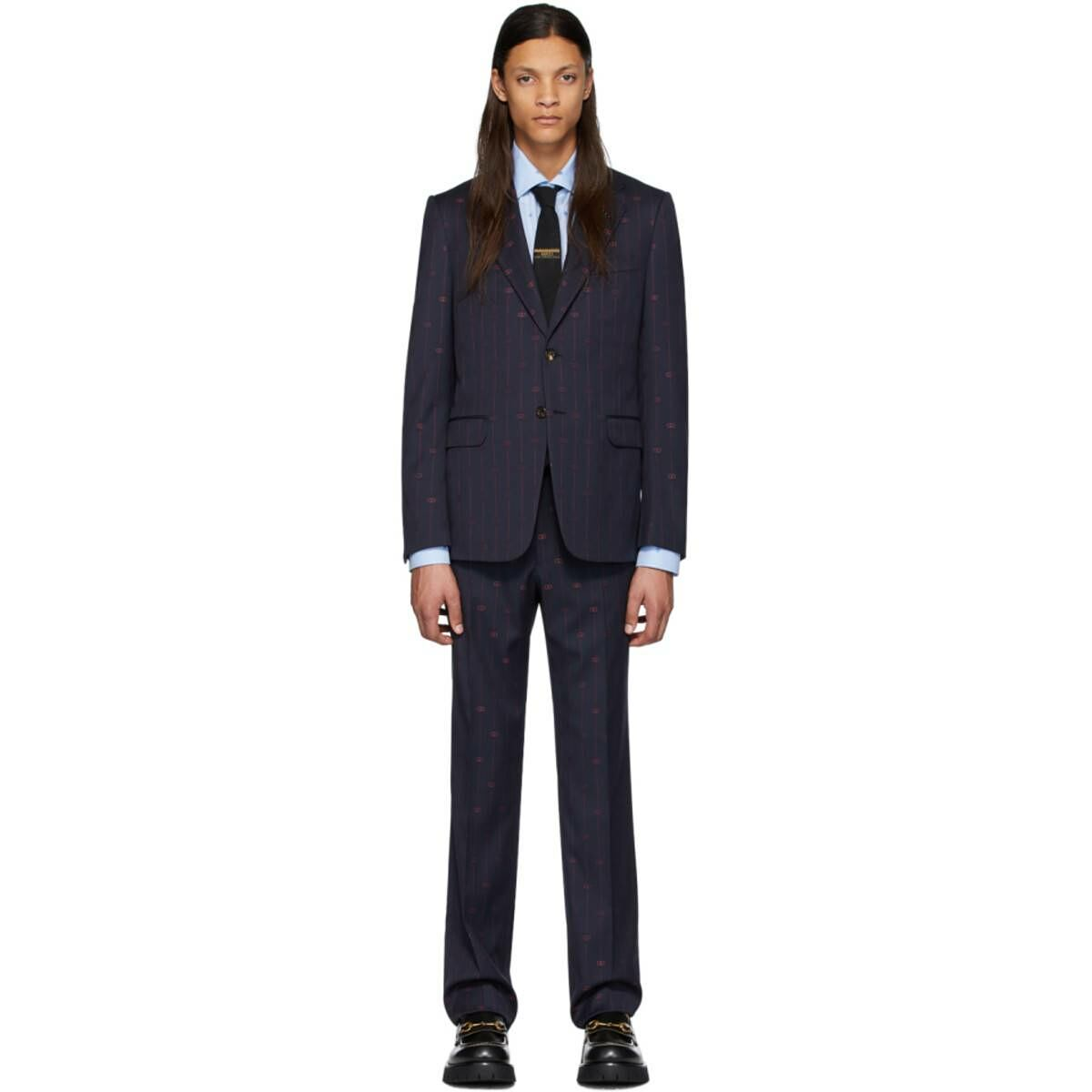 Gucci Navy and Pink GG Pinstripe Suit Ssense USA MEN Men FASHION Mens SUITS