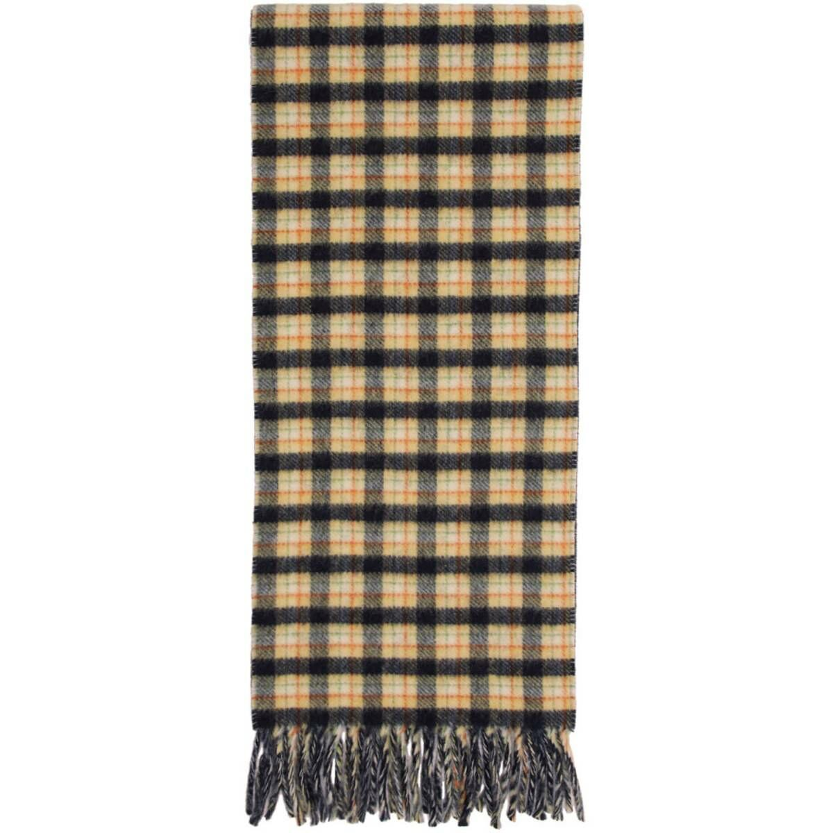 Gucci Navy and Yellow Wool Check GG Scarf Ssense USA MEN Men ACCESSORIES Mens SCARFS