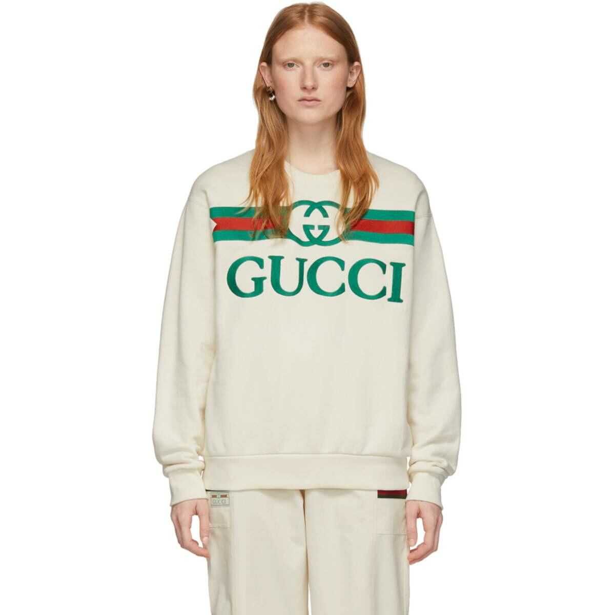 Gucci Off-White Vintage Logo Sweatshirt Ssense USA WOMEN Women FASHION Womens SWEATERS
