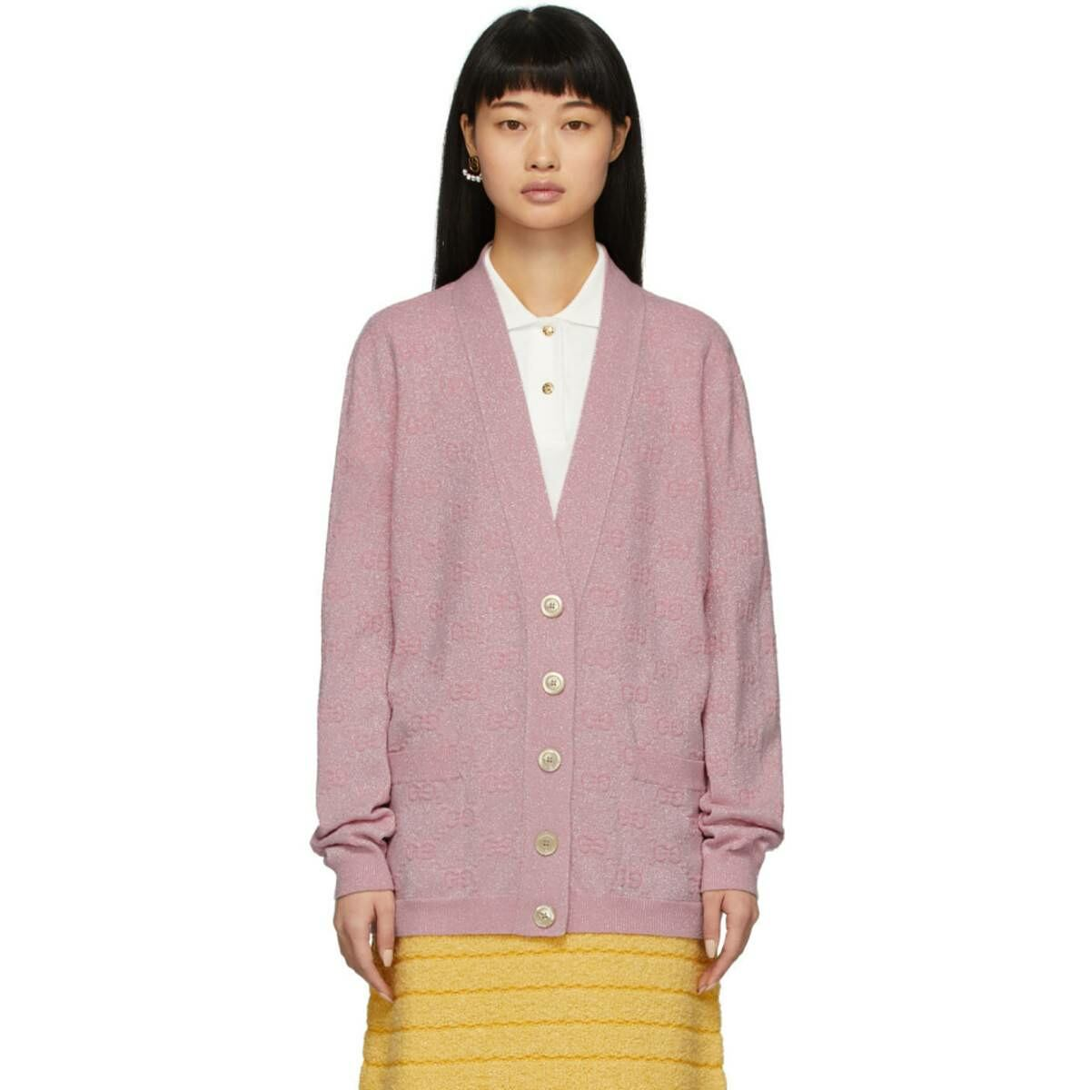 Gucci Pink Lurex Interlocking G Cardigan Ssense USA WOMEN Women FASHION Womens KNITWEAR