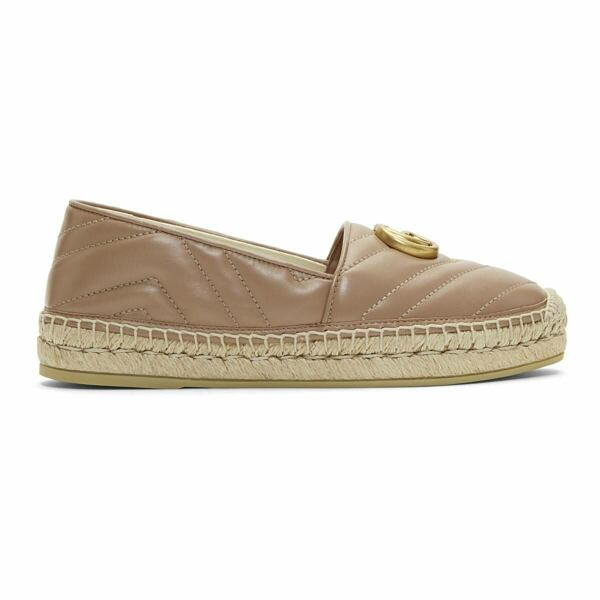 Gucci Pink Quilted Charlotte Espadrilles Ssense USA WOMEN Women SHOES Womens FLAT SHOES