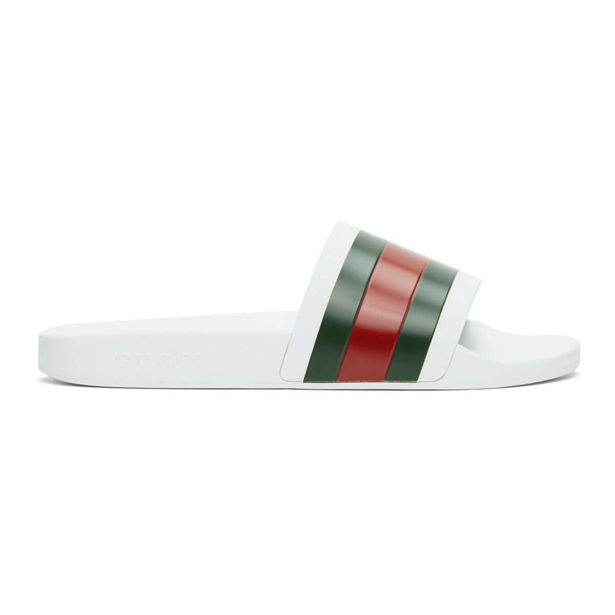 Gucci White Pursuit slides Ssense USA MEN Men SHOES Mens SANDALS