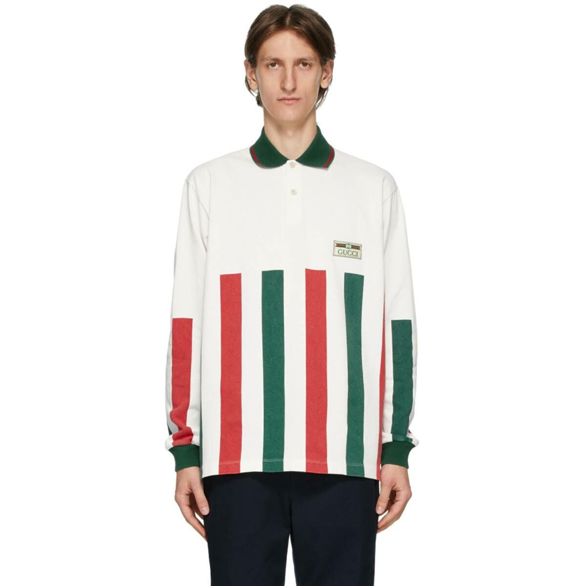 Gucci White Web Striped Long Sleeve Polo Ssense USA MEN Men FASHION Mens POLOSHIRTS