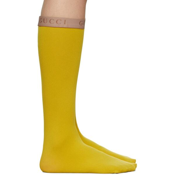 Gucci Yellow Amila Socks Ssense USA WOMEN Women ACCESSORIES Womens SOCKS