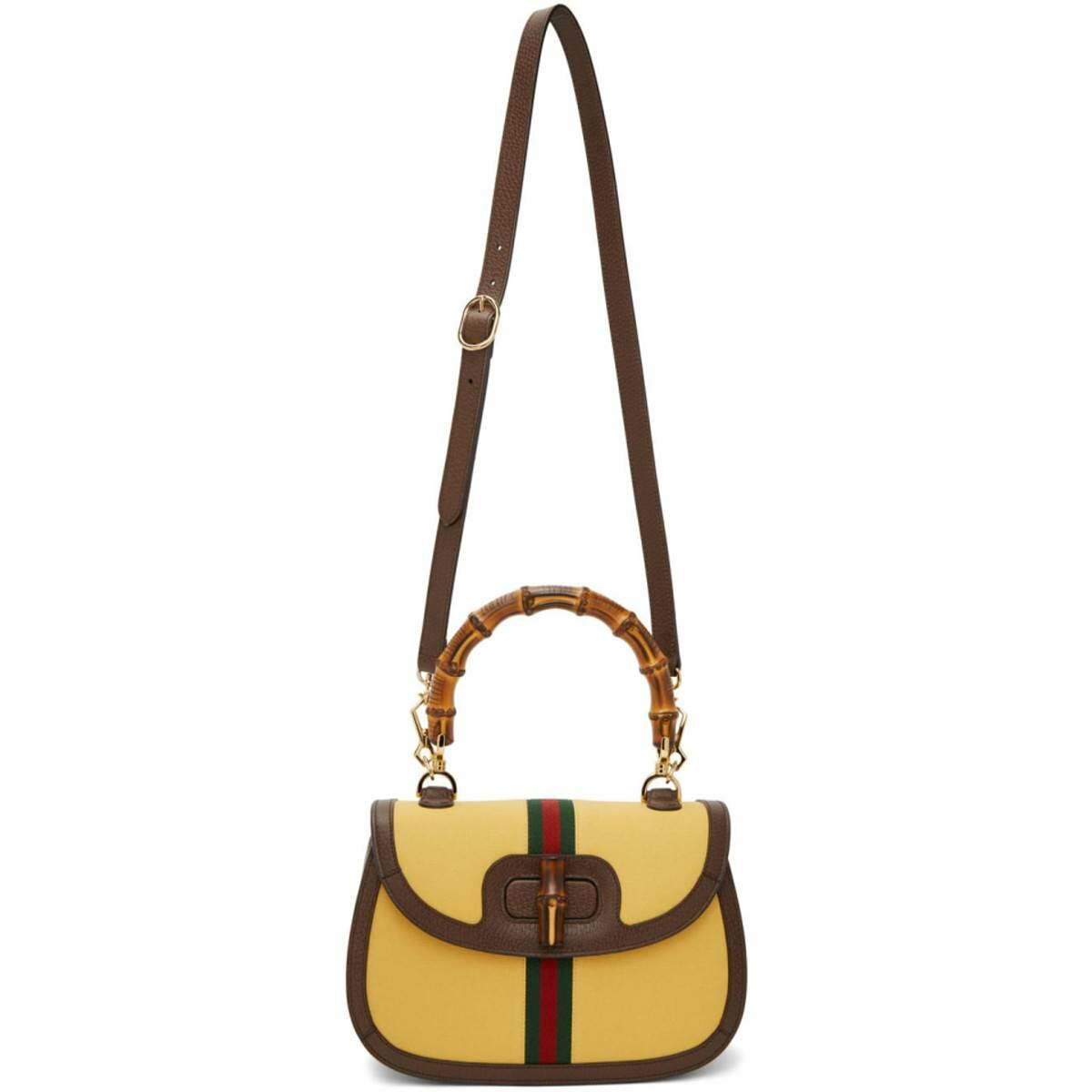 Gucci Yellow and Brown Bamboo Top Handle Bag Ssense USA WOMEN Women ACCESSORIES Womens BAGS