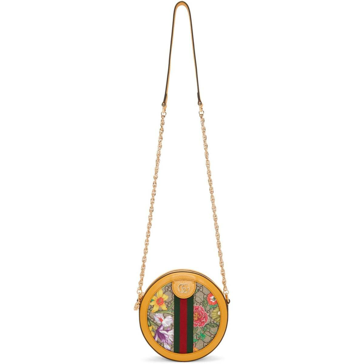 Gucci Yellow and Multicolor Mini Round Ophidia Bag Ssense USA WOMEN Women ACCESSORIES Womens BAGS