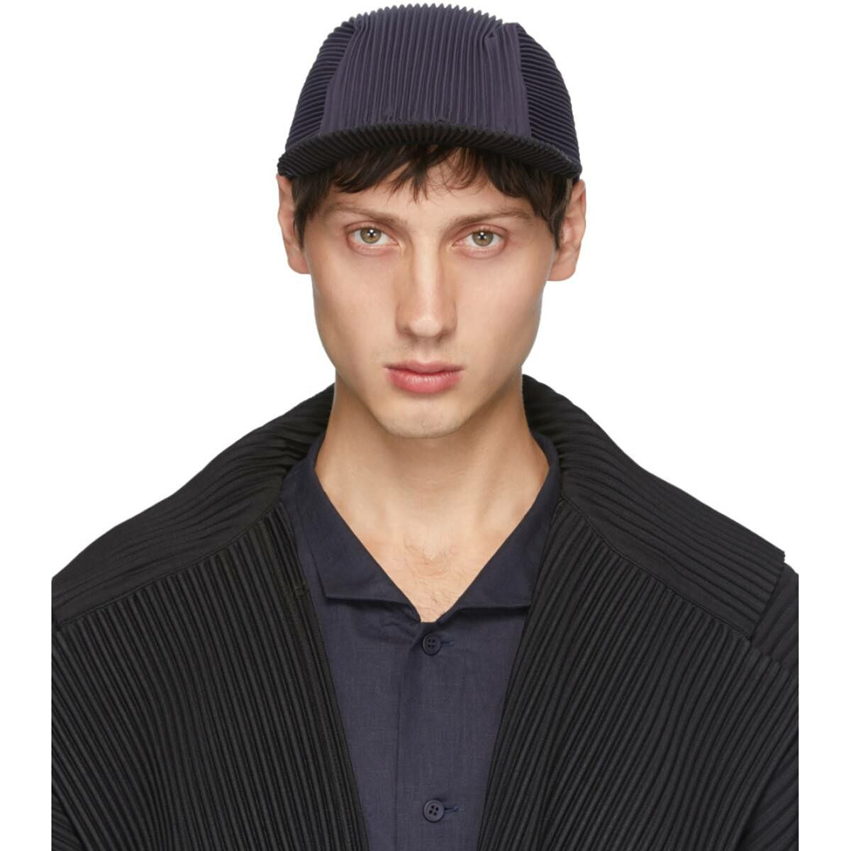Homme Plisse Issey Miyake Navy and Black Pleated Cap Ssense USA MEN Men ACCESSORIES Mens CAPS