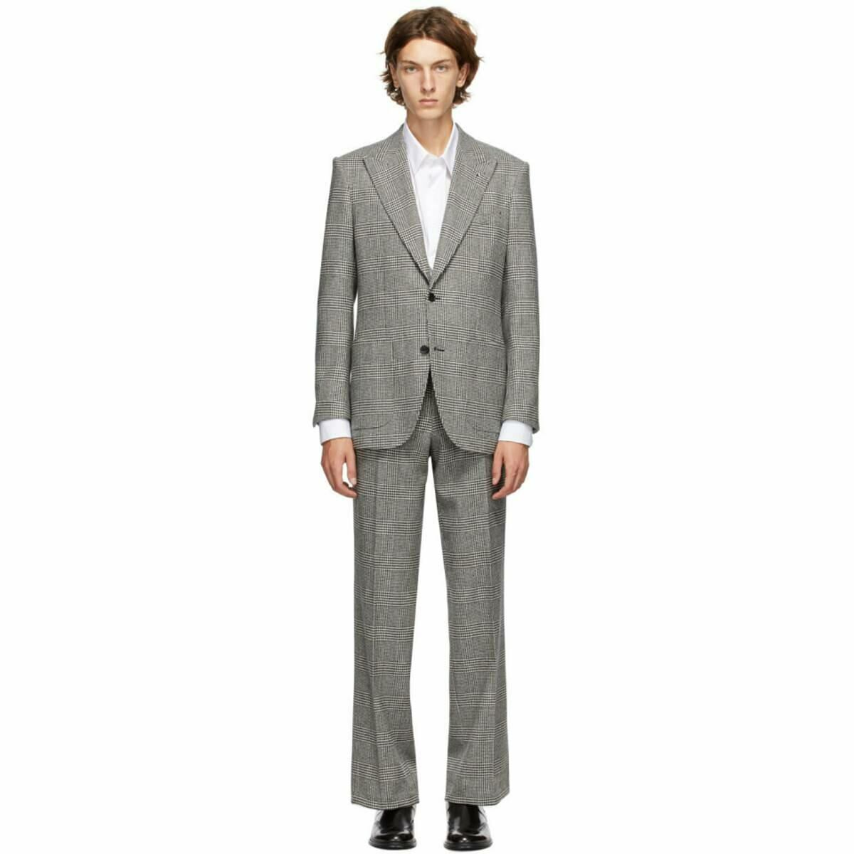 Husbands Black and White Wool Checkered Suit Ssense USA MEN Men FASHION Mens SUITS