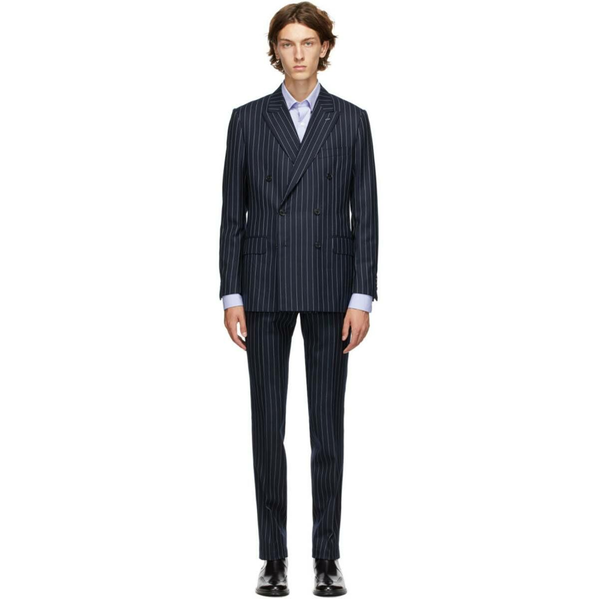 Husbands Navy Pinstripe Suit Ssense USA MEN Men FASHION Mens SUITS