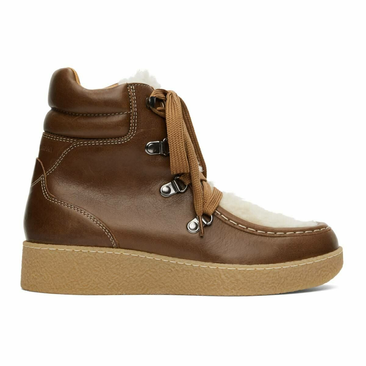 Isabel Marant Brown Shearling Alpica Ankle Boots Ssense USA WOMEN Women SHOES Womens ANKLE BOOTS