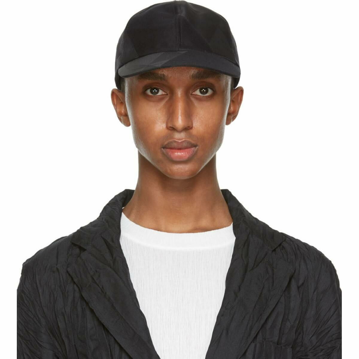 Issey Miyake Men Black Triangle Cap Ssense USA MEN Men ACCESSORIES Mens CAPS