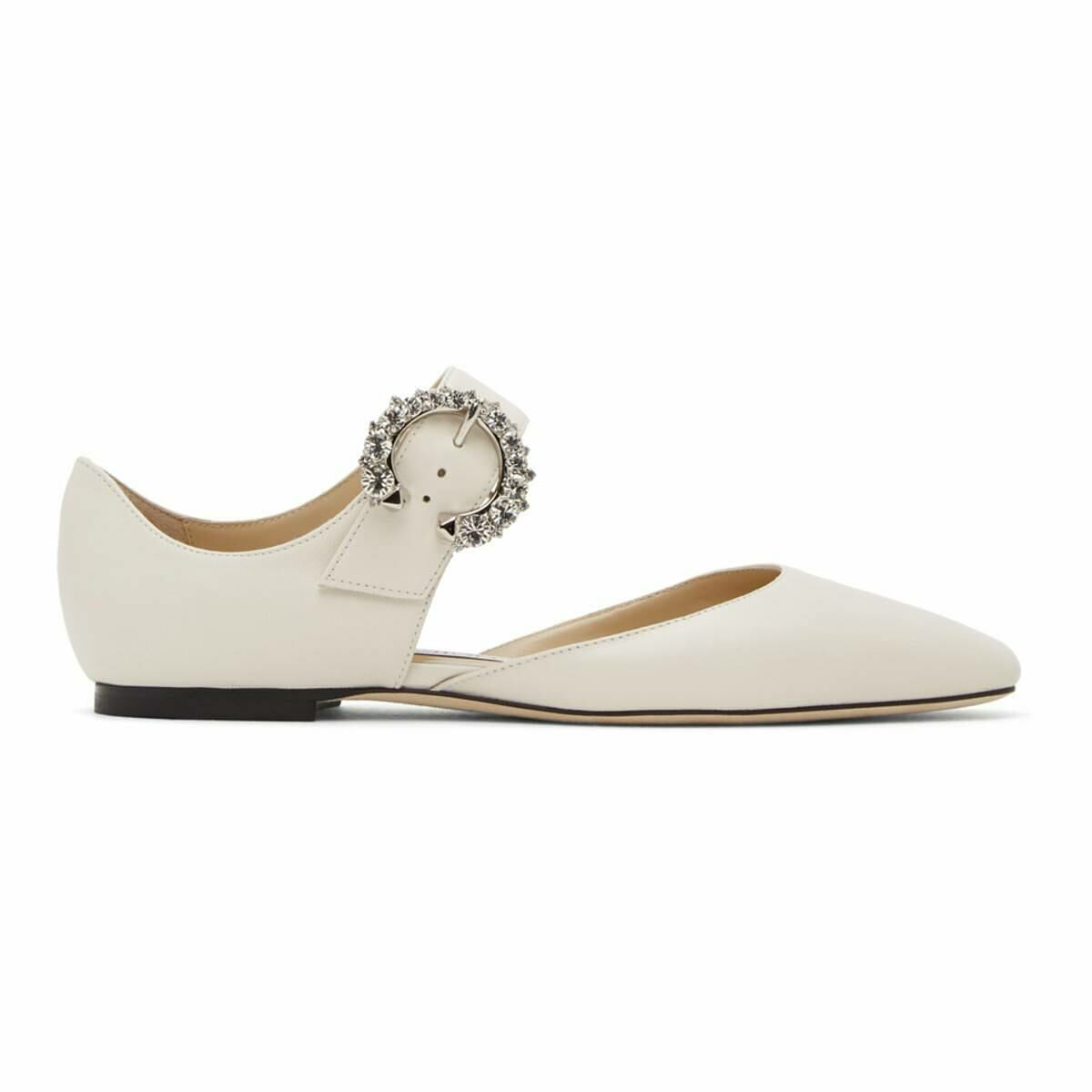 Jimmy Choo White Gin Mary-Jane Flats Ssense USA WOMEN Women SHOES Womens BALLERINAS