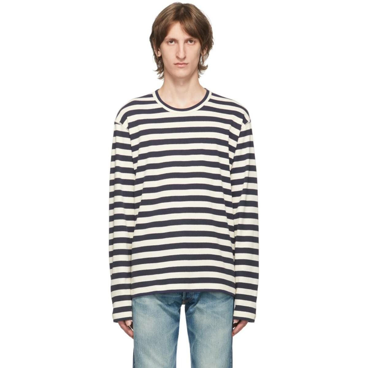 Junya Watanabe Blue and White Stripe Long Sleeve T-Shirt Ssense USA MEN Men FASHION Mens T-SHIRTS