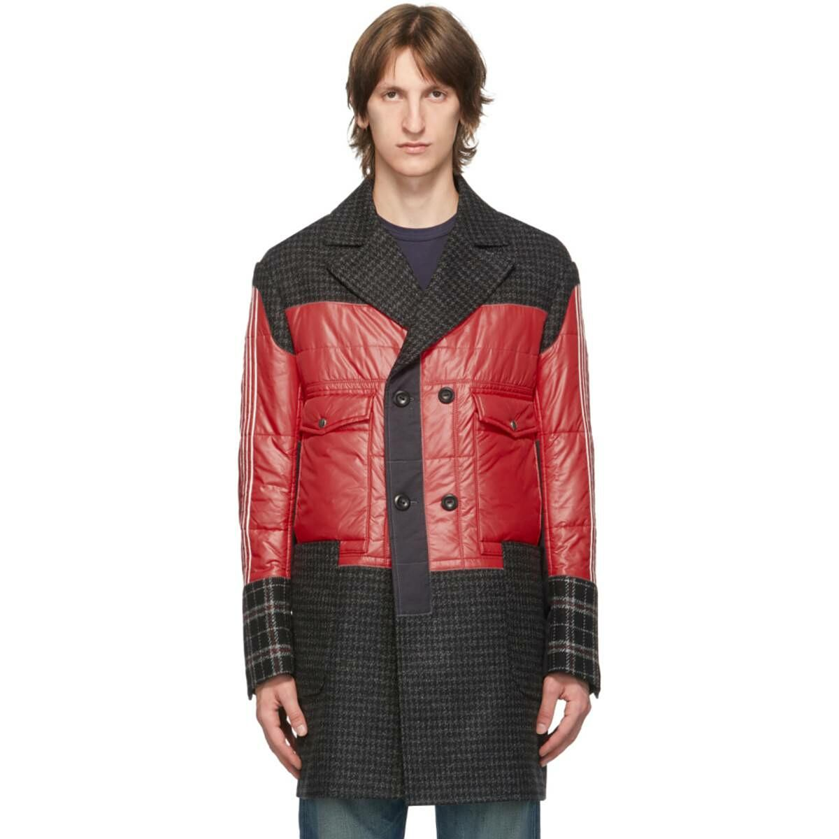 Junya Watanabe Red Nylon and Wool Coat Ssense USA MEN Men FASHION Mens COATS