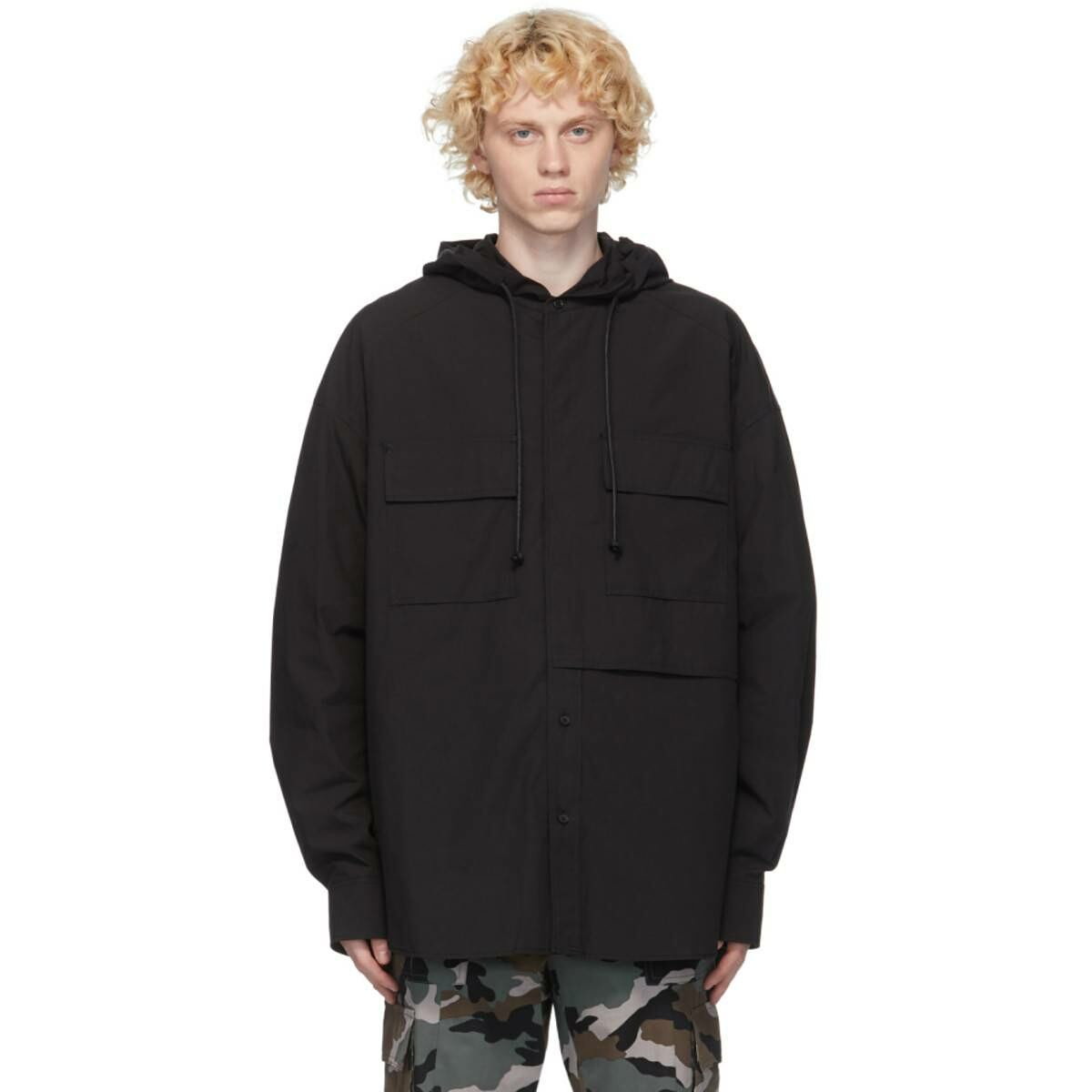 Juun.J Black Hooded Shirt Ssense USA MEN Men FASHION Mens SHIRTS