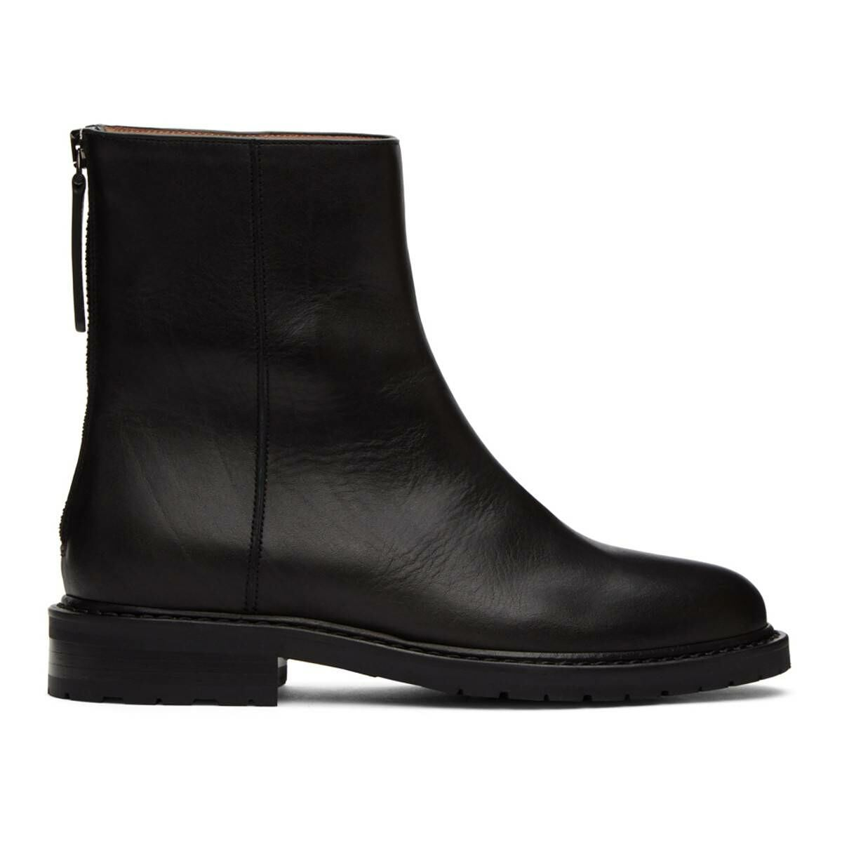 Legres Black Leather Officer Boots Ssense USA WOMEN Women SHOES Womens ANKLE BOOTS
