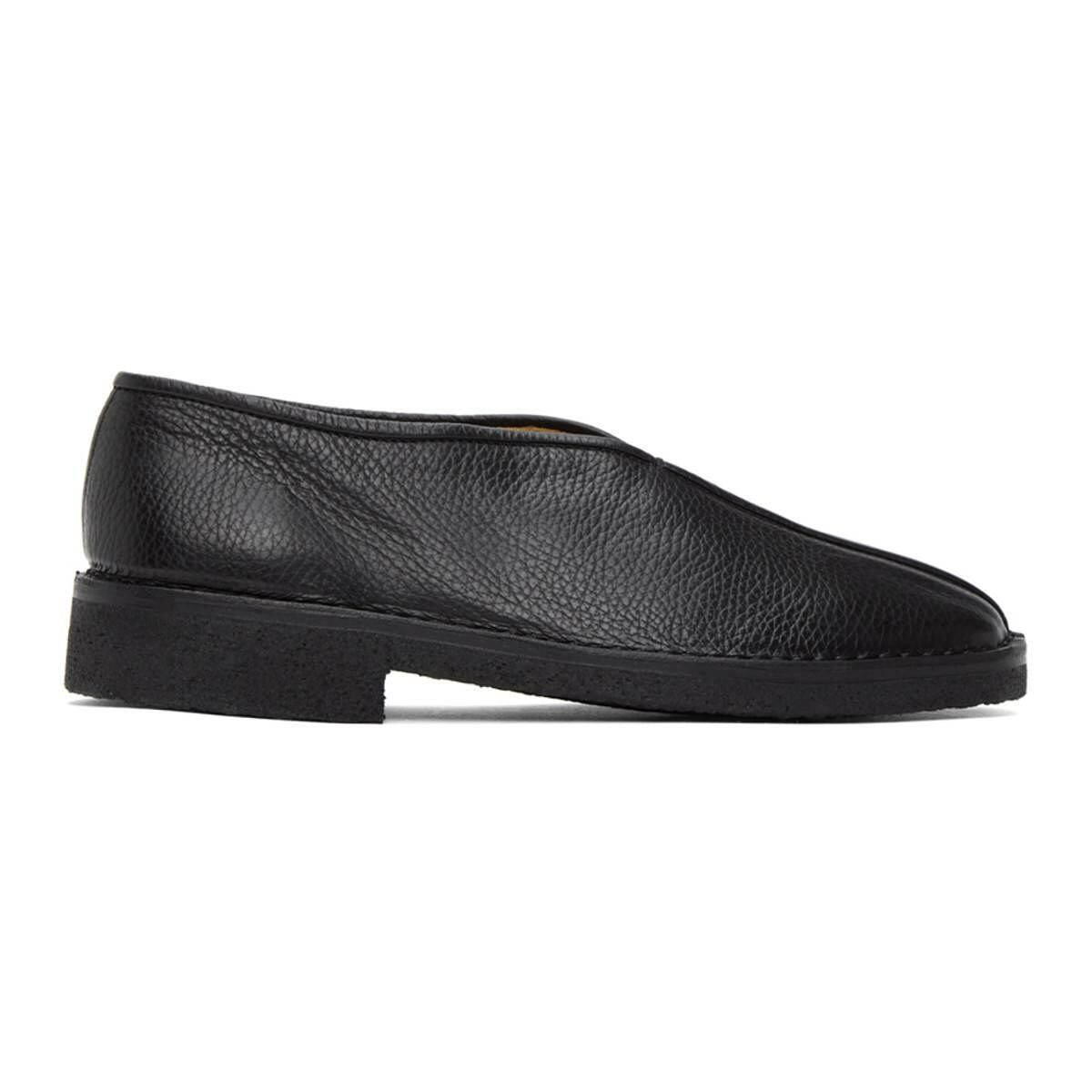 Lemaire Black Square Toe Slippers Ssense USA MEN Men SHOES Mens LOAFERS