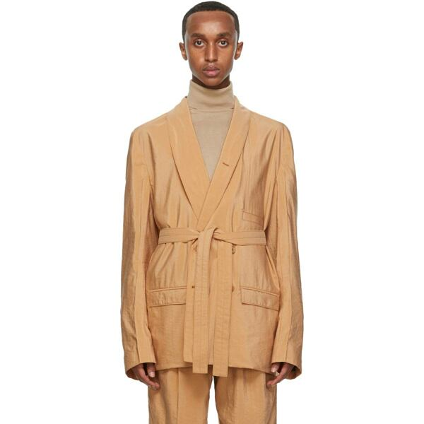 Lemaire Tan Silk Double-Breasted Belted Blazer Ssense USA MEN Men FASHION Mens BLAZER