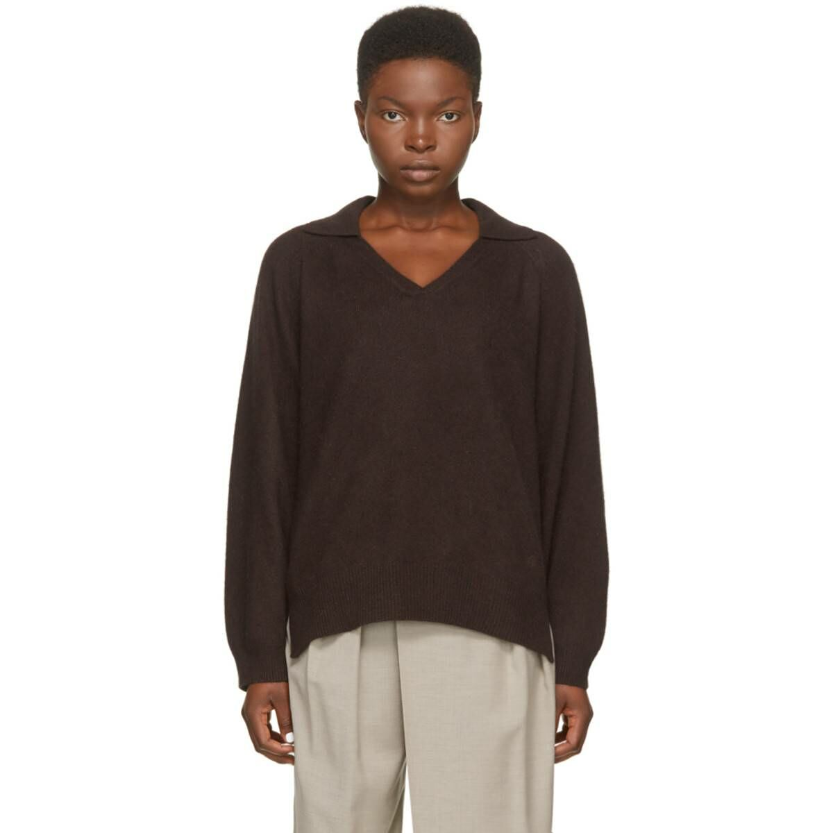 Loulou Studio Brown Wool Sperone Sweater Ssense USA WOMEN Women FASHION Womens KNITWEAR