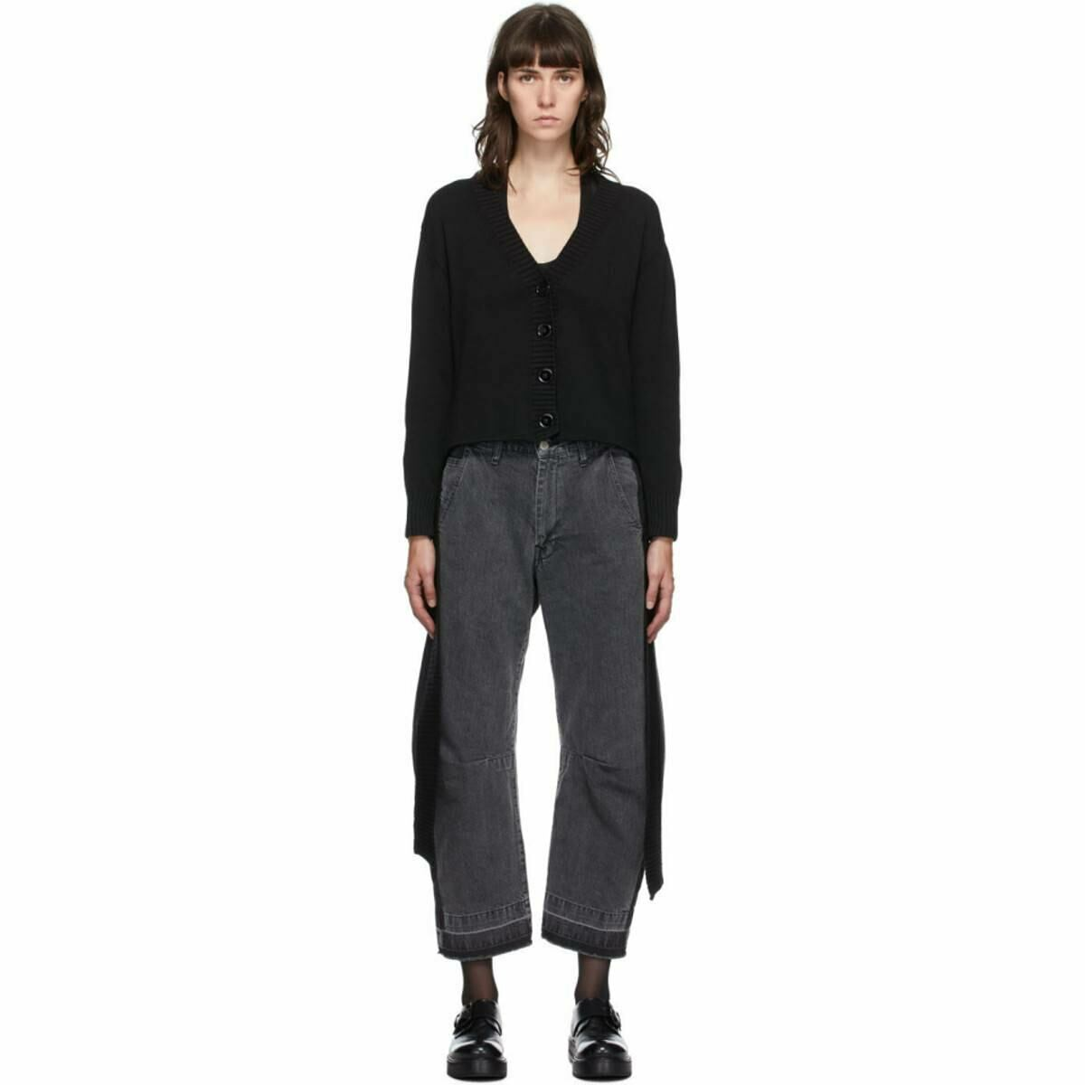 MM6 Maison Margiela Black Boxy Loose Rib Cardigan Ssense USA WOMEN Women FASHION Womens KNITWEAR