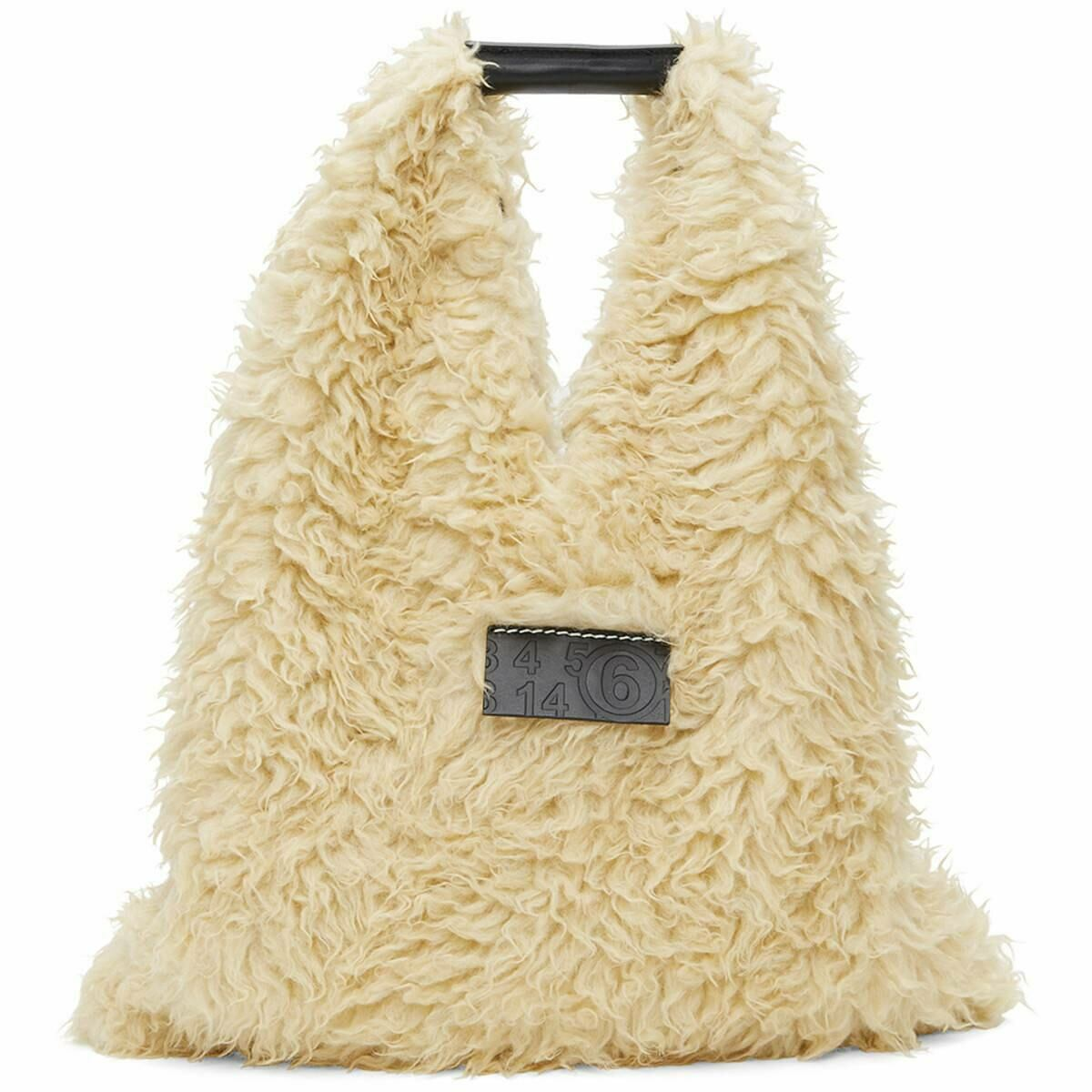 MM6 Maison Margiela Off-White Sherpa Small Triangle Tote Ssense USA WOMEN Women ACCESSORIES Womens BAGS