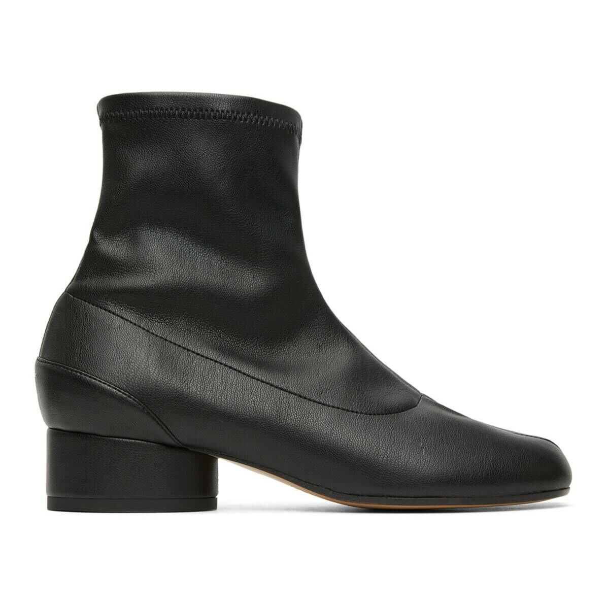 Maison Margiela Black Eco Leather Tabi Sock Boots Ssense USA WOMEN Women SHOES Womens ANKLE BOOTS