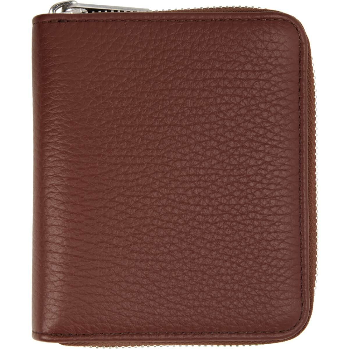 Maison Margiela Brown Leather Zip-Around Wallet Ssense USA MEN Men ACCESSORIES Mens WALLETS