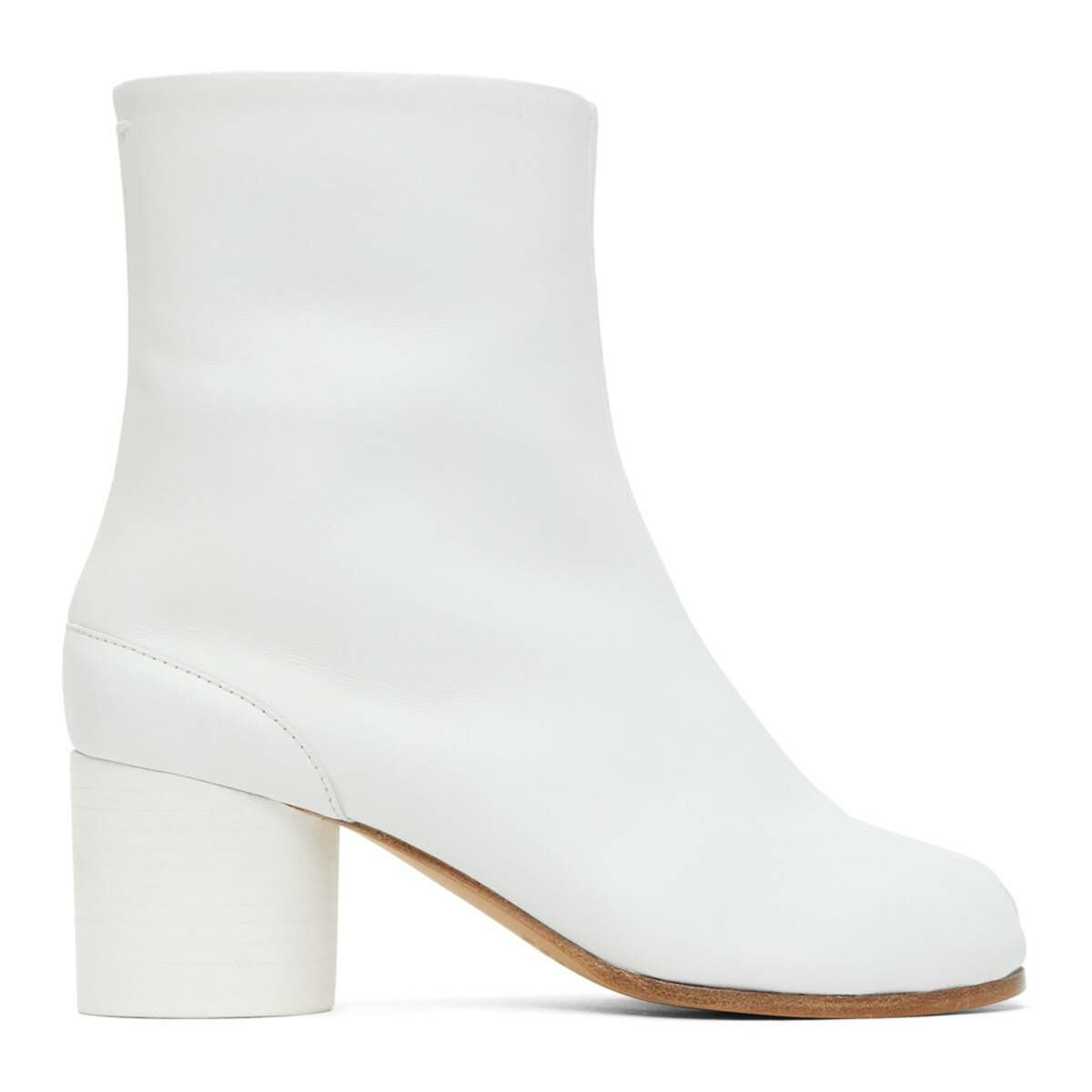 Maison Margiela White Mid Heel Tabi Boots Ssense USA WOMEN Women SHOES Womens ANKLE BOOTS