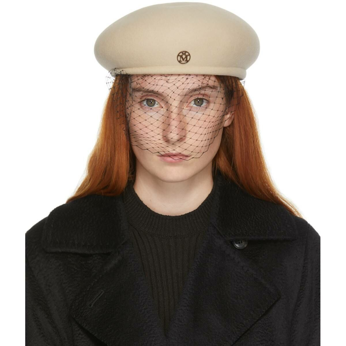 Maison Michel Beige Felt Veil Bonnie Cap Ssense USA WOMEN Women ACCESSORIES Womens CAPS