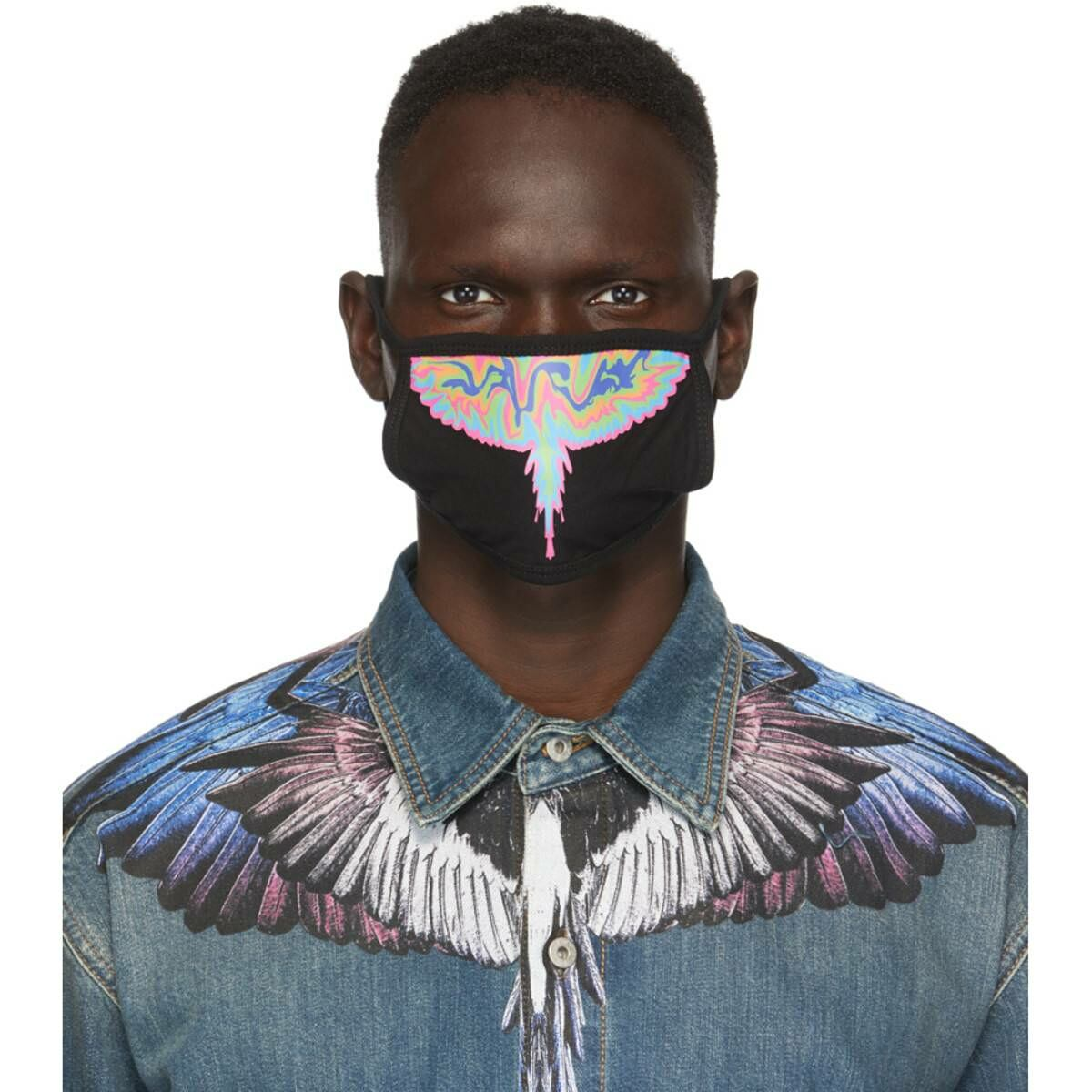 Marcelo Burlon County of Milan Black Psychedelic Wings Face Mask Ssense USA MEN Men ACCESSORIES Mens SCARFS