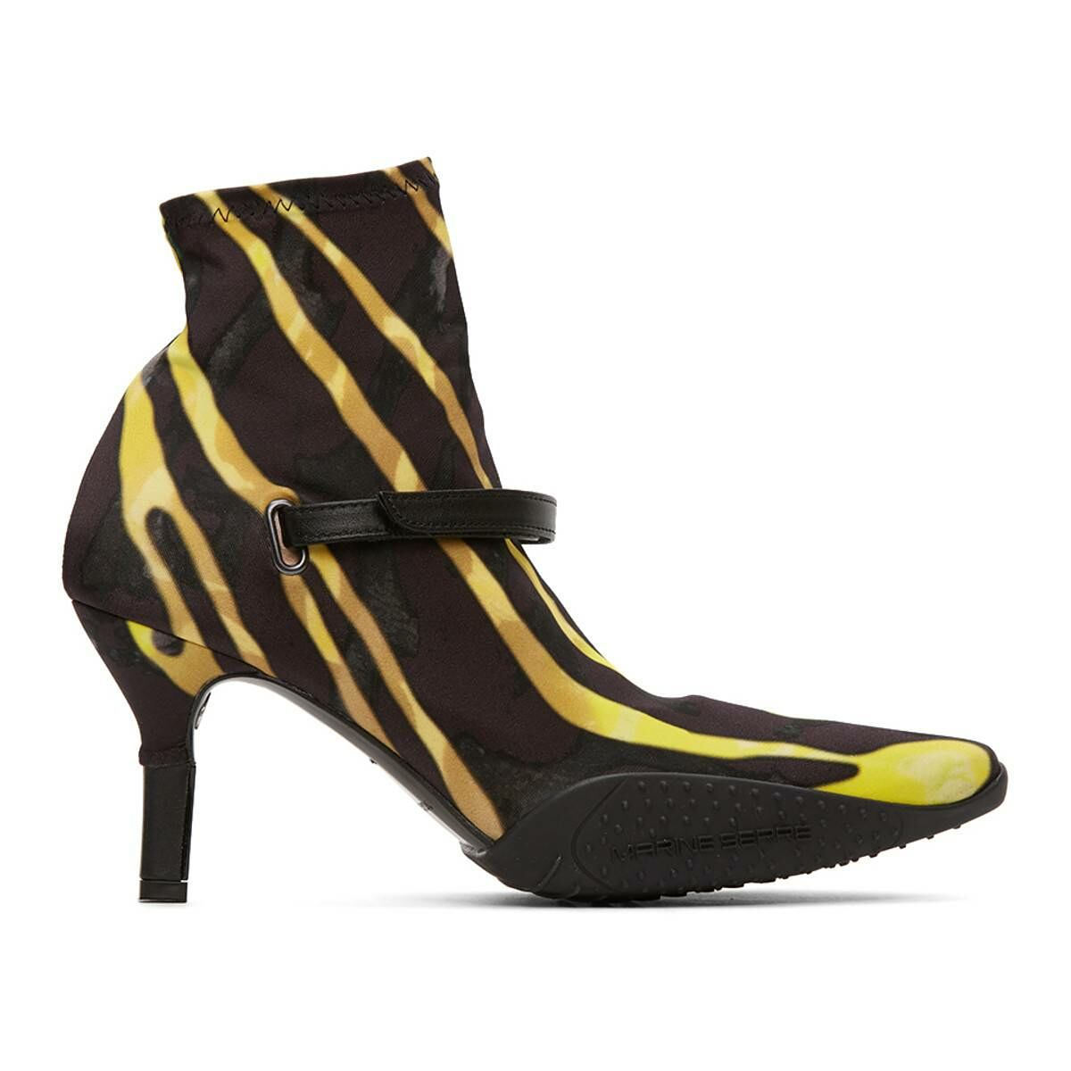 Marine Serre Black and Yellow Jersey Sock Ankle Heel Boots Ssense USA WOMEN Women SHOES Womens ANKLE BOOTS