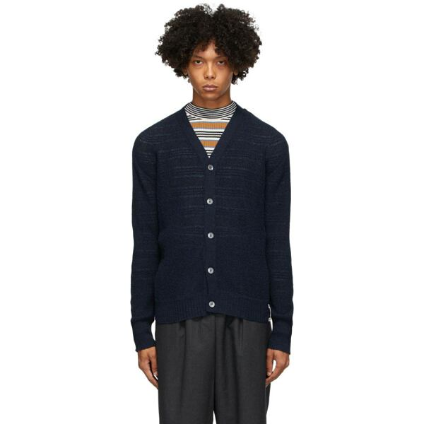 Marni Navy Alpaca Links Cardigan Ssense USA MEN Men FASHION Mens KNITWEAR