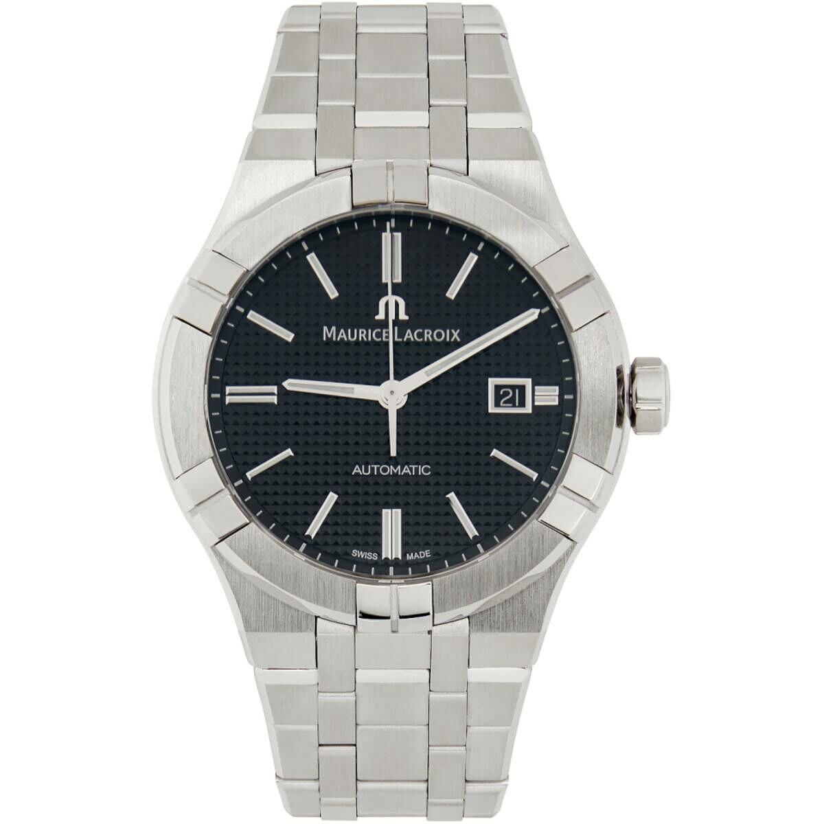 Maurice Lacroix Black and Silver Aikon Automatic Watch Ssense USA MEN Men ACCESSORIES Mens WATCHES