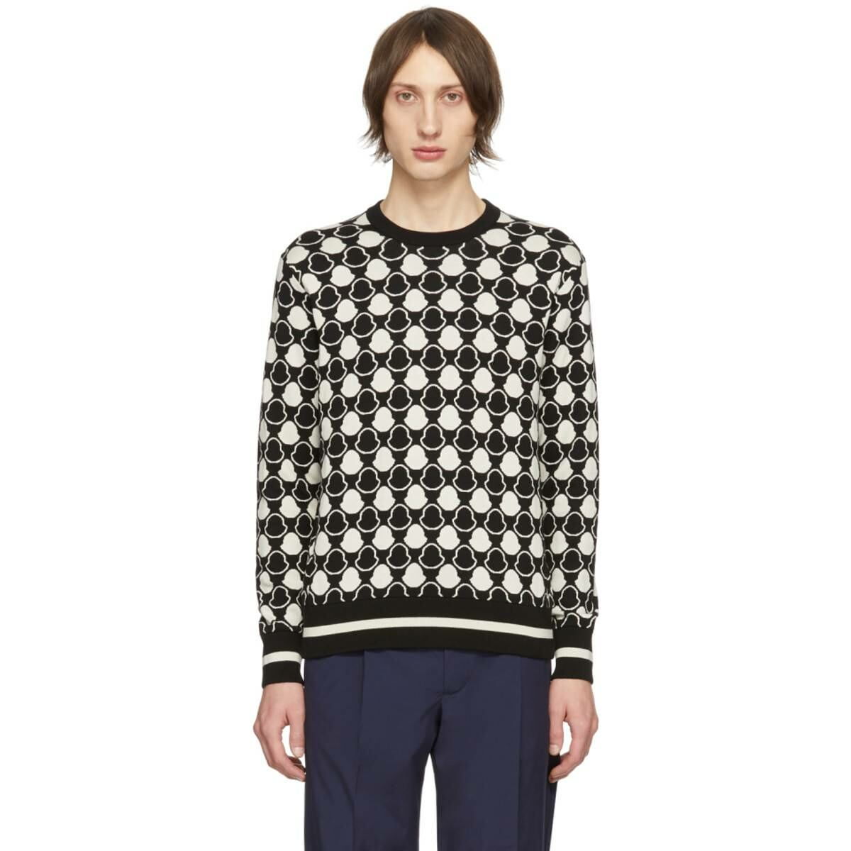 Moncler Black and White Jacquard Bell Sweater Ssense USA MEN Men FASHION Mens KNITWEAR