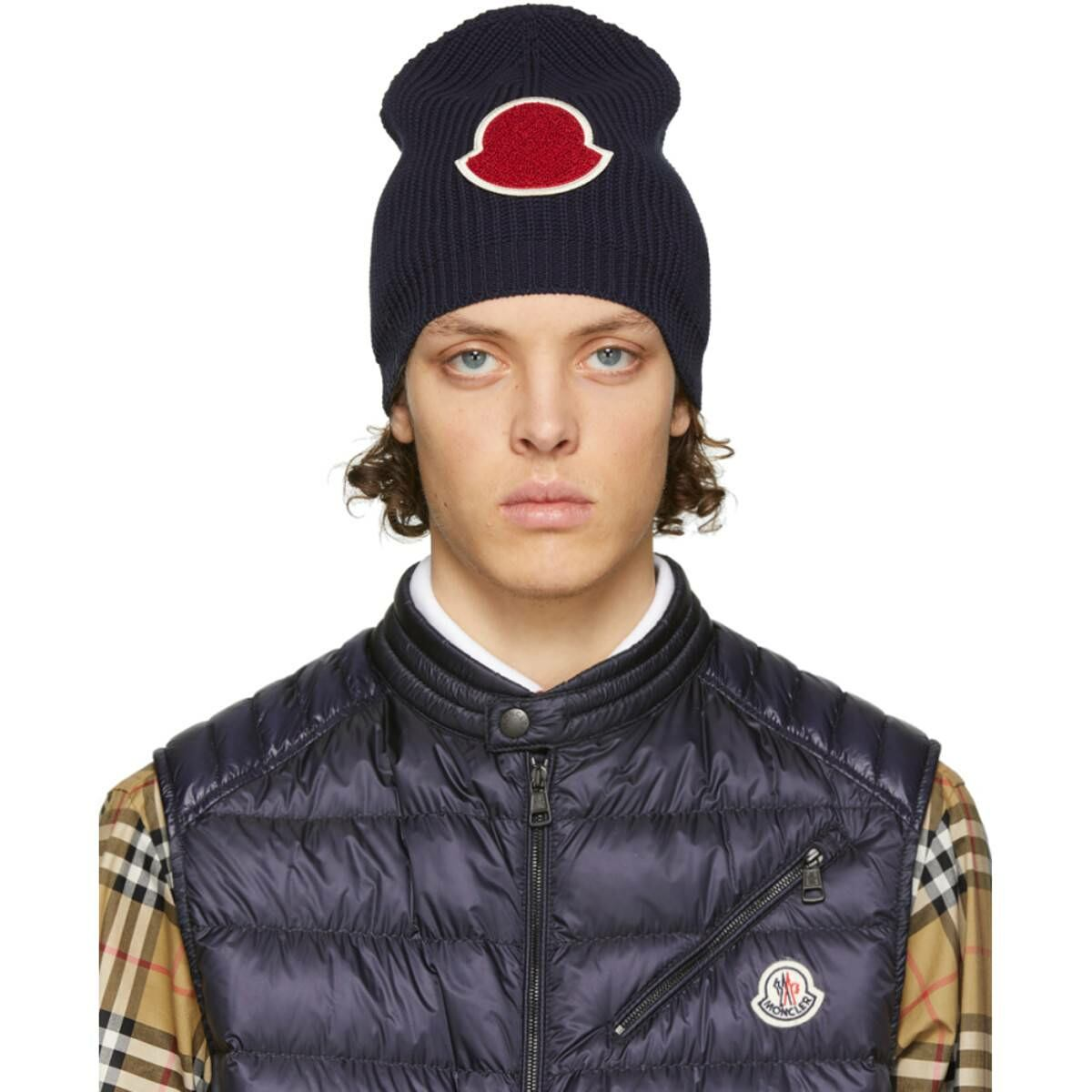Moncler Navy Knit Beanie Ssense USA MEN Men ACCESSORIES Mens HATS