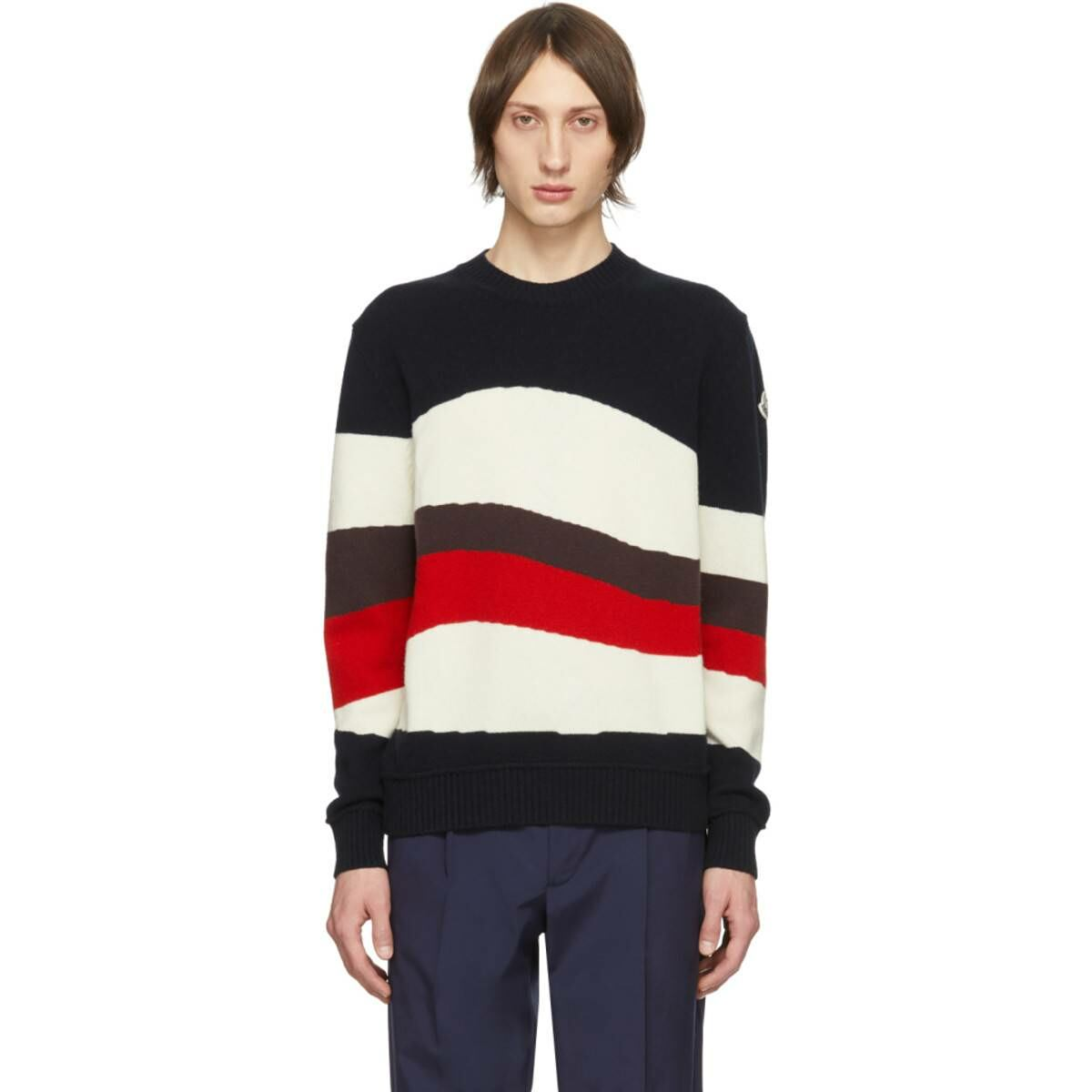 Moncler Tricolor Wool and Mohair Red Wave Sweater Ssense USA MEN Men FASHION Mens KNITWEAR