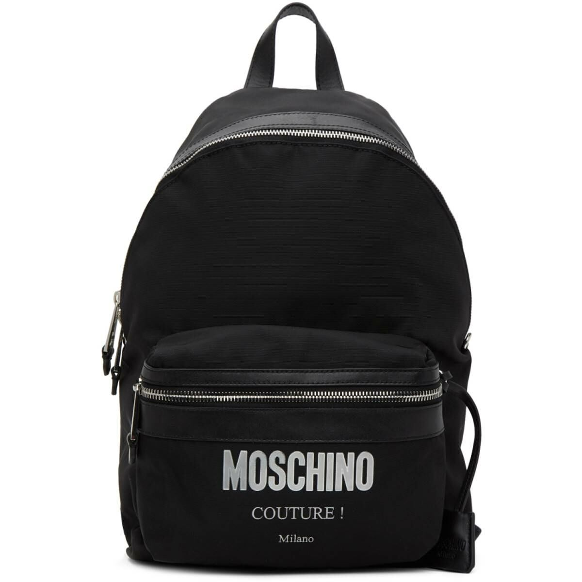 Moschino Black Canvas Couture Backpack Ssense USA MEN Men ACCESSORIES Mens BAGS