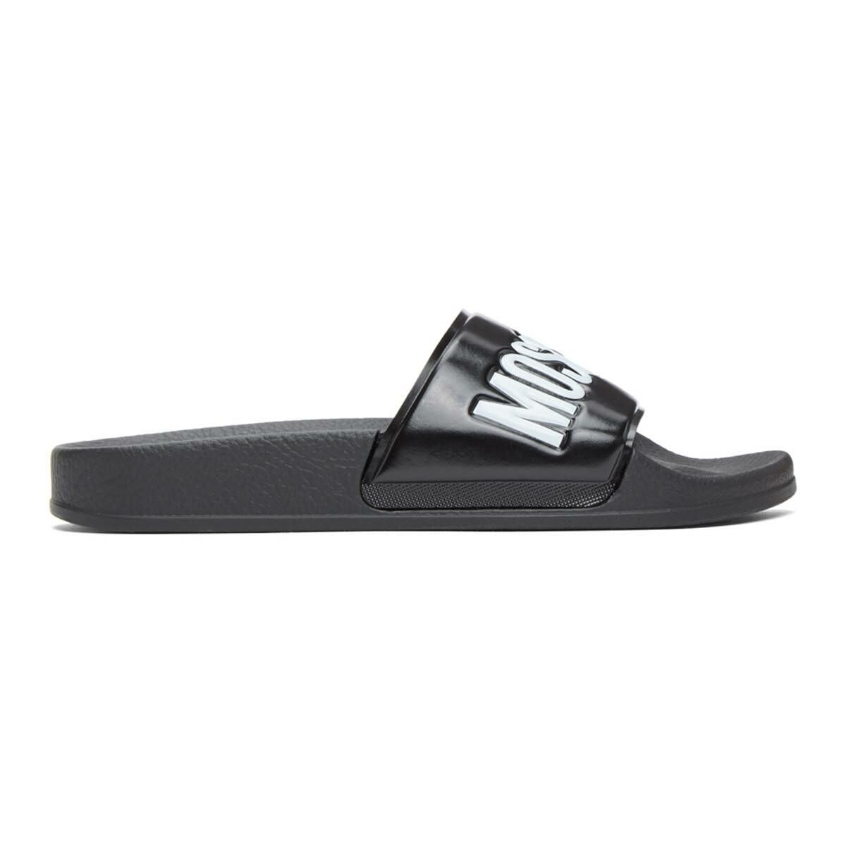 Moschino Black Logo Slides Ssense USA MEN Men SHOES Mens SANDALS