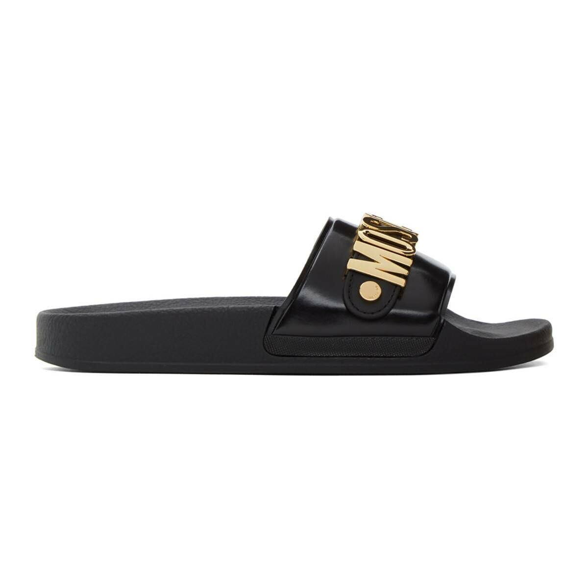 Moschino Black Metallic Logo Slides Ssense USA MEN Men SHOES Mens SANDALS