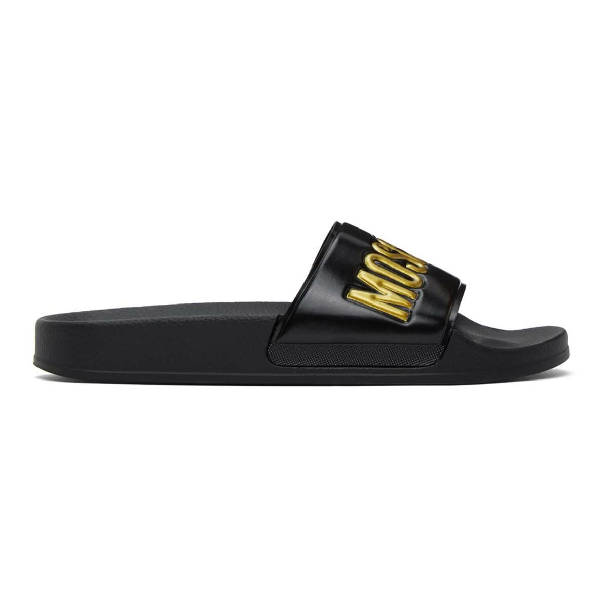 Moschino Black and Gold Logo Slides Ssense USA MEN Men SHOES Mens SANDALS