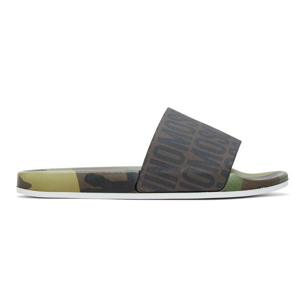 Moschino Brown Logo Camouflage Slides Ssense USA MEN Men SHOES Mens SANDALS